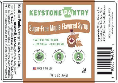 Keystone Pantry Sugar-Free Maple Flavored Syrup 1 pint bottle full label