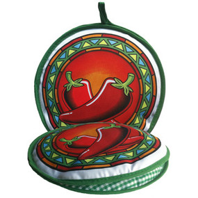 13-Inch Medallion Chilis Insulated Tortilla Warmer - Microwave Fabric Pouch - front + flat