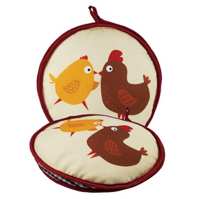 10-inch Two Chicks Insulated Tortilla Warmer-Microwave Fabric Pouch