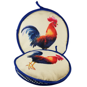 10-inch Blue Rooster Insulated Tortilla Warmer-Microwave Fabric Pouch
