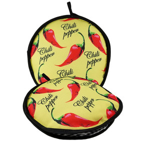 10-inch Yellow Peppers Insulated Tortilla Warmer-Microwave Fabric Pouch 8pk
