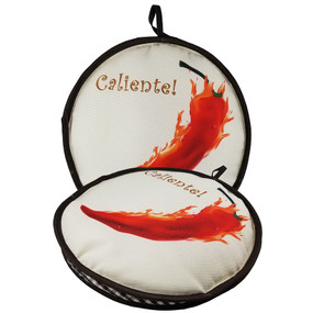 "10-inch Caliente Pepper 10"" Peppers  & Garlic Insulated Tortilla Warmer-Microwave Fabric Pouch"