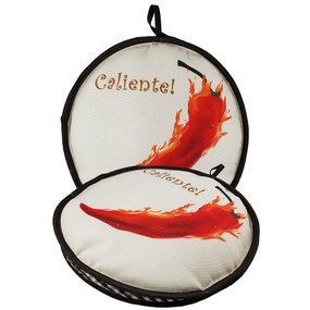 "10-inch Caliente Pepper 10"" Peppers  & Garlic Insulated Tortilla Warmer-Microwave Fabric Pouch 8pk"