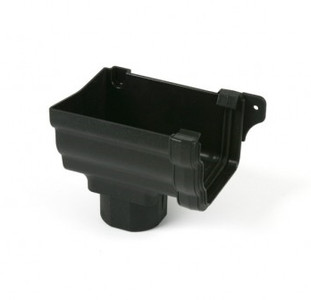 Ogee Stop End Outlet - Cast Iron Effect Black