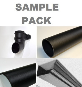 Short length of gutter and downpipe supplied as a sample