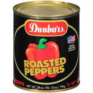 "DUNBAR Roasted Red Bell Pepper - 1/4"" Strips 12-28 Ounce Free Shipping"