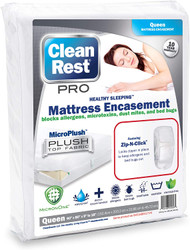 Clean Rest Pro Waterproof, Allergy and Bed Bug Blocking Mattress Encasement, Queen, Free Shipping