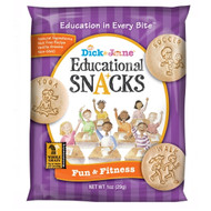Dick And Jane Fun & Fitness Educational Snack Crackers, 1 Ounce Pouch - 120 Per Cs, Free Shipping