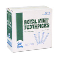 """Royal RM115 Mint Cello-Wrapped Wood Toothpicks, 2 1/2"""", Natural, Box of 1000 (Case of 14 Boxes) Free Shipping"""