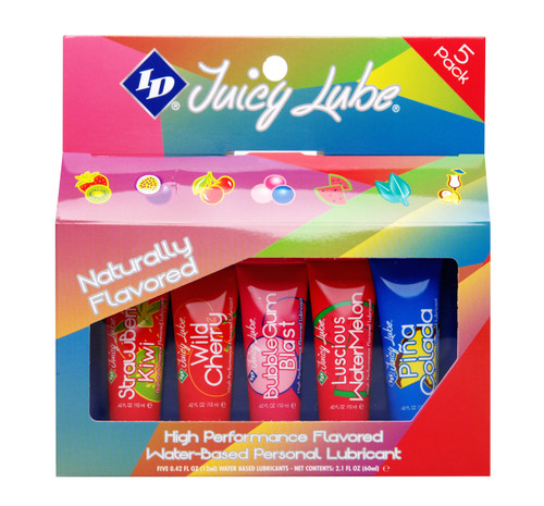 "ID Juicy Lube is the world"" s best selling flavored lubricant. Containing no sugars or dyes, Juicy Lube"" s clear, non-staining formula is water-based, long lasting and latex compatible, making it ideal for foreplay, oral sex and intercourse. Unique package dispenses at any angle. This sampler includes 5 different flavors to enjoy with your partner! Sampler Includes: , Strawberry-Kiwi. 12g tube, Passion Fruit. 12g tube, Wild Cherry. 12g tube, Bubble Gum. 12g tube, Watermelon. 12g tube."