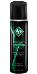 Guaranteed never sticky, ID Millennium Moisturizing Lubricant represents the highest quality pure silicone lubricant manufactured in the United States. It never dries and never loses slip, even under water. This super concentrated, clear, odorless formula is latex compatible and washes off easily with soap and warm water. Experience the premium quality and superior performance of ID Millennium; it is truly amazing! Sizes: Comes in 2.2 oz, 4.4 oz and 8.5 oz.