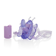 "This remote control butterfly strap-on is very discreet and powerful. Easily worn underneath clothing you can put this item on and have an orgasmic night out on the town! This butterfly has four functions of vibration, pulsation and escalation. Comes with a 2.5"" G-spot penis that is just enough to hit the g-spot. Also comes with a handy remote control that works up to 32ft away. Making perfect for solo play or with a partner! Fully adjustable thigh strap means one size fits most. Material: , TPR. Note: Uses 1-N battery, Included, and 2-AAA batteries, Not Included."