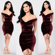 Red Velvet Off Shoulder Bodycon Dress