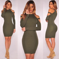 Peek-a-Boo Shoulder Army Green Sensual Dress