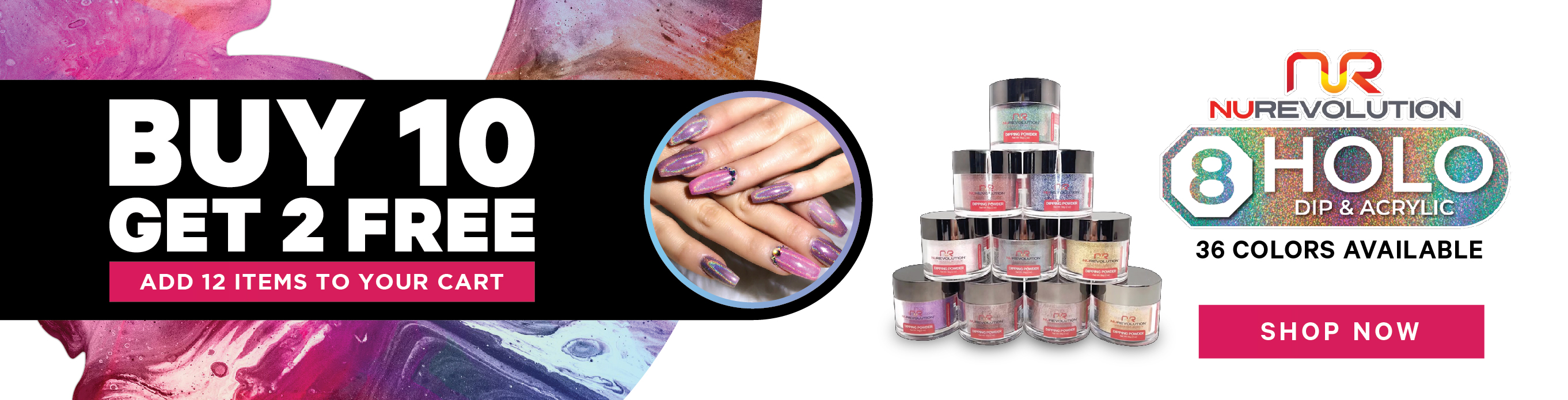 New Collections - NuRevolution - 8 Holo Dip Acrylic - Allure Nail Supply