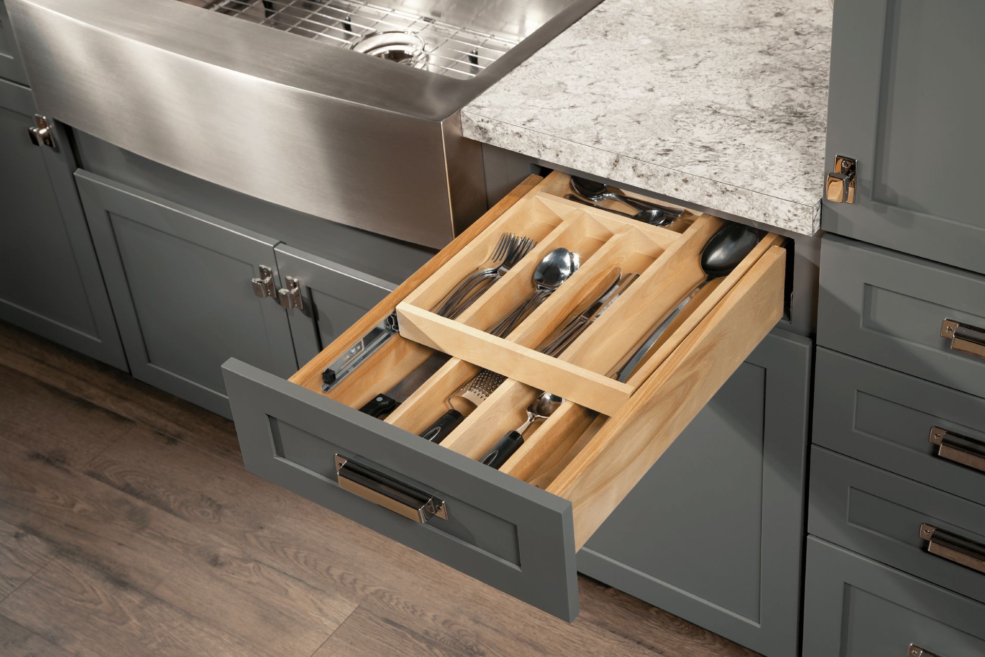 Cardell Kitchen Cabinet Accessories - Wood Tiered Drawer ...