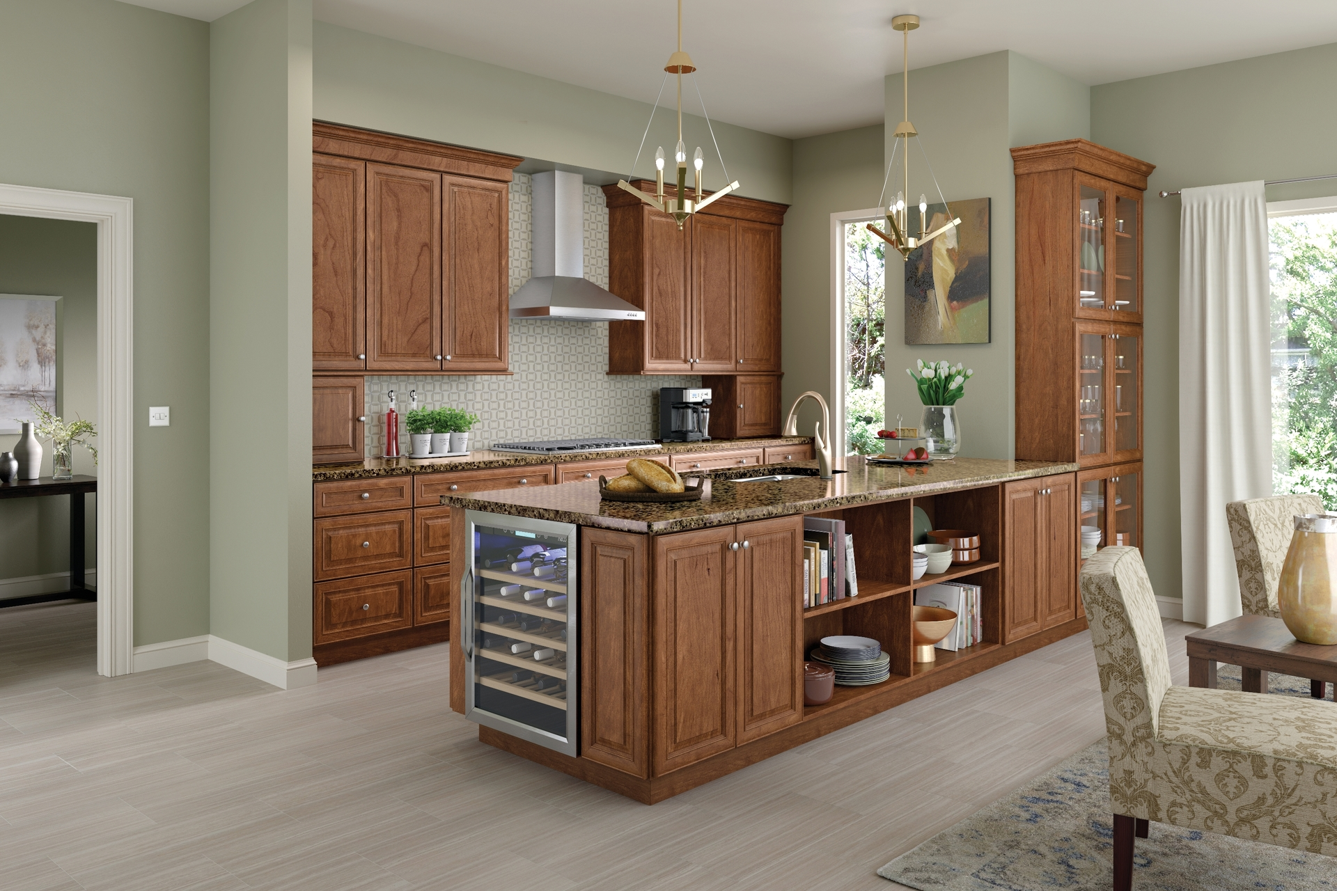 Cardell Kitchen Cabinets Rotherham Cherry In Ginger With Sable Glaze