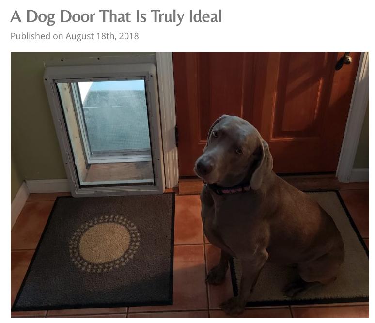 Pet Wellness Advocate Deems Our Ruff Weather Door A Dog Door That