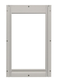 Medium Size Aluminum Inside Frame With Tape Around Inside Edges And Slots For Slide. Designed For Door With Round Logo With Rivets On Metal Bar On Vinyl Flap.