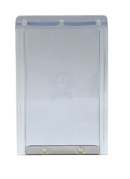 """Small Size 5 X 7"""" FLAP Has Round Logo With Rivets On Metal Bar On Vinyl Flap/Plastic Frame In A Fast-Fit Patio Door Or Aluminum Modular Patio Door."""