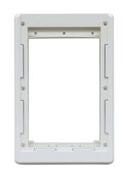 Small Size Plastic Inside Frame With Slots For Slide. Designed For Door With Round Logo With Rivets On Metal Bar On Vinyl Flap. For A Fast-Fit Patio Door Or Aluminum Modular Patio Door.