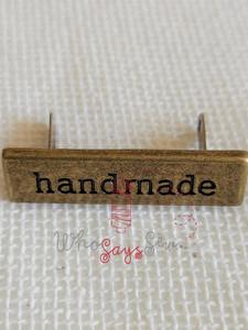 """Handmade"" Metal Label in Antique Brass"