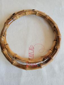 "Pair of Round Bamboo Bag Handles 18.5cm (7.5"") External Diameter"