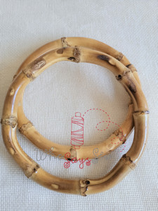 "Pair of Round Bamboo Bag Handles 12.5cm (5"") External Diameter"