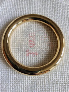 """3.8cm (1 1/2"""") Alloy Round Edge O-Rings in Real Gold"""