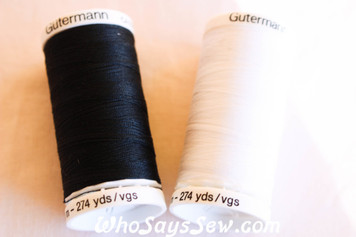 Gutermann Sew-All Polyester Thread 250M Reel in Black OR White