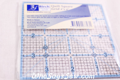 """4""""x 4"""" Quilt Square Ruler with Grids"""
