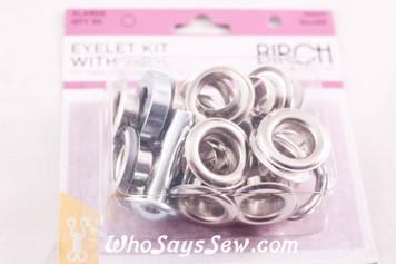 20 Extra Large Eyelets with Bonus Tool silver