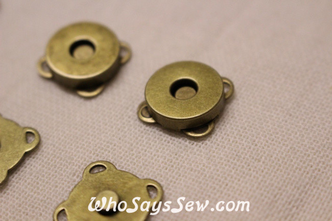5 Sets of 15mm Sew-On Magnetic Snap Buttons in Antique Bronze - Who