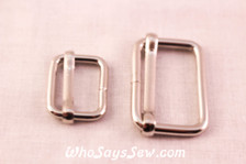 2 Adjustable Strap Sliders in Shiny Nickel. 2 Sizes.