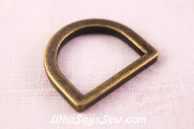 2 Flat Alloy D-Rings in Antique Bronze. 2.5cm Wide, Extra Tall