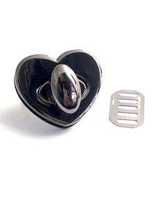 Medium Heart Twist Lock in Silver or Gunmetal