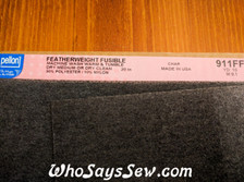 """Pellon 911FF Featherweight Iron-On Interfacing in White/Charcoal. 50cm/20"""" Wide."""
