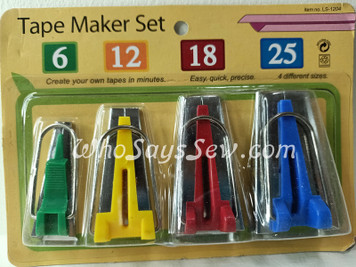 Bias Tape Maker Set- 4 Sizes 6mm, 12mm, 18mm, 25mm Included