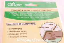 Clover Carbon Tracing Paper - Pkt of 5 in 5 Colours