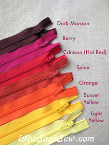 20cm Closed-ended All-Purpose Nylon Zipper in 20 Colours. Quality Brand.