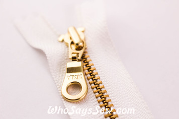 YKK Closed-Ended Gold Metal Zipper with Round Pull, 25cm, 30cm and 50cm