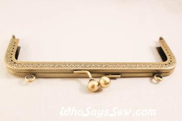 18cm Embossed Antique Brass Kisslock Purse Frame- Square