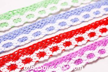 2.5cm Wide Crochet Cotton Lace Trim By The Metre in 4 Bright Colours.