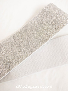 "4cm (1.5"") Wide Soft Silver Sparkly Waistband Elastic- By the Metre"