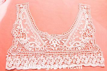 Large Cotton Lace Collar/Yoke in Snow& Natural White (0447)