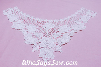 Large Cotton Lace Collar/Yoke in Snow& Natural White (074)