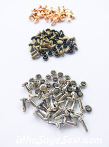 9mm Double Cap Rivets. 5 Shank Sizes + 4 Colours Available