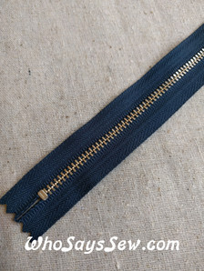 YKK Closed-Ended Gold Metal Zipper with donut pull, NAVY
