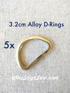 5x 3.2cm Flat Alloy D-Rings in Shiny Nickel (Silver)