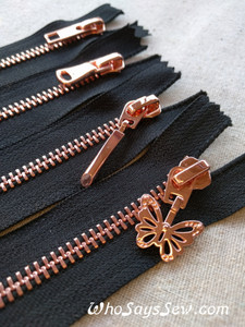 Shiny Rose Gold Metal Teeth Zipper 60cm. Size 5 Closed Ended. 4 Pull Designs. Nickel Free